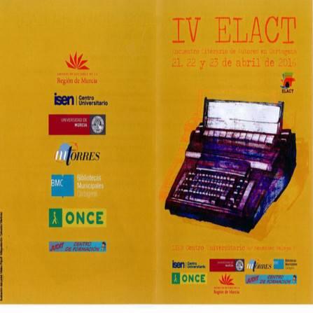 IV Encuentro Literario de Autores en Cartagena . Documento PDF - 296,20 KB. Se abre en ventana nueva